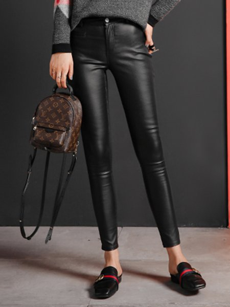 Black Solid Pockets Casual Zipper Skinny Leg Pants