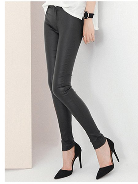Black Zipper Casual Solid Long Skinny Leg Pants