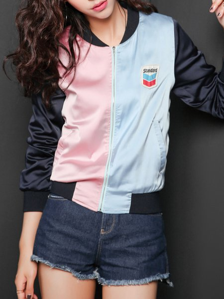 Navy Blue Color-block Casual Bomber Jacket
