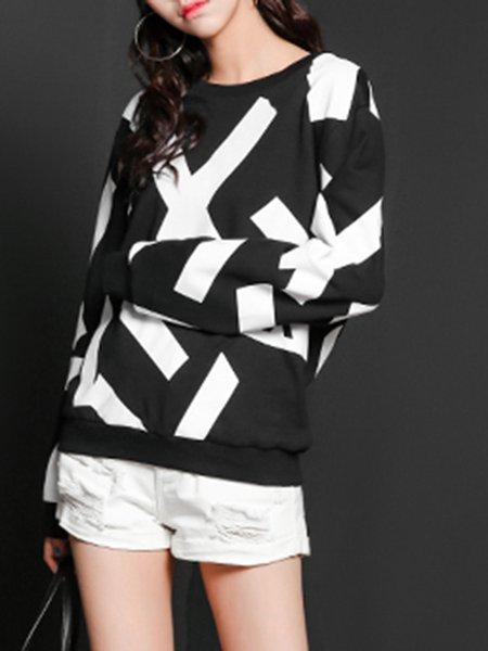 Black Casual Crew Neck Color-block Sweatshirt