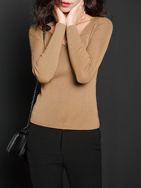 Khaki Casual V Neck Sheath Plain Sweater