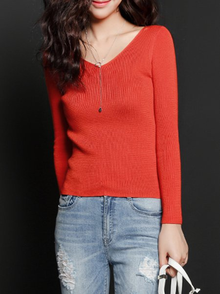 Orange Long Sleeve Knitted Sweater