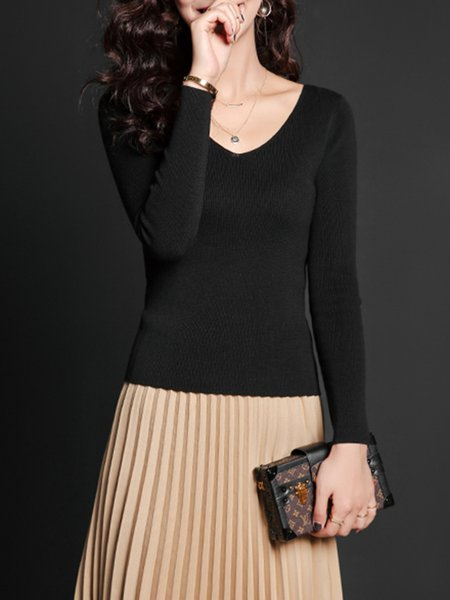 Black Sheath Casual Knitted Plain Sweater