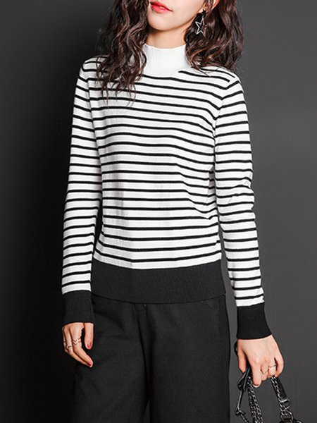 White Stripes Long Sleeve Knitted Sweater