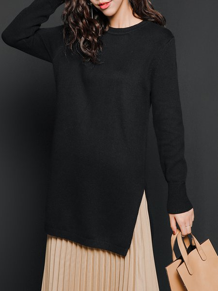 Black Slit H-line Knitted Casual Sweater