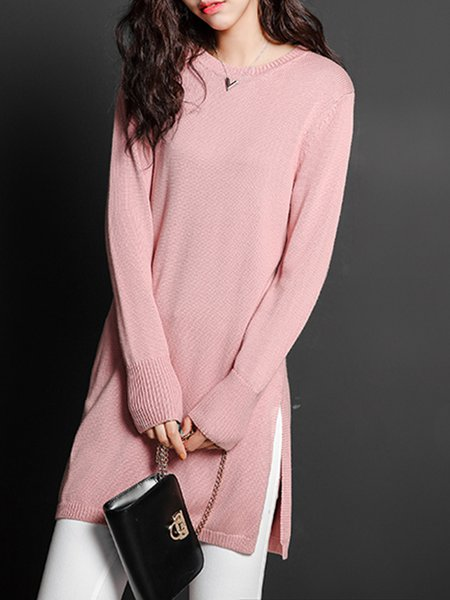 Pink Casual Plain Knitted Slit Sweater