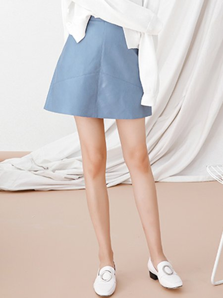 Blue Zipper Plain Casual A-line Mini Skirt