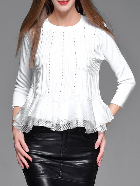 White Crew Neck Plain Ruffled Long Sleeved Top