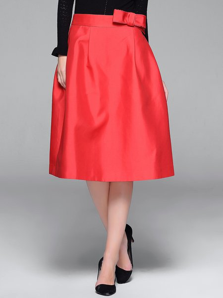 Red Elegant Skater Cotton-blend Bow Midi Skirt