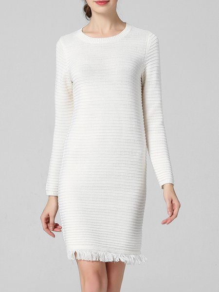 Cashmere Long Sleeve Crew Neck Plain Simple Sweater Dress
