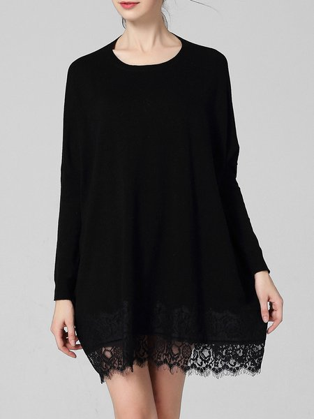 Black Long Sleeve Knitted Sweater Dress
