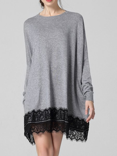 Gray Long Sleeve Knitted Lace Plain Sweater