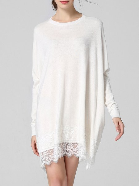 White Plain Knitted Crew Neck Long Sleeve Sweater Dress