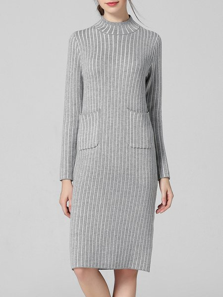 Long Sleeve Knitted Turtleneck Pockets Simple Sweater Dress