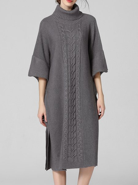Casual Shift Long Sleeve Jacquard Batwing Knitted Sweater Dress
