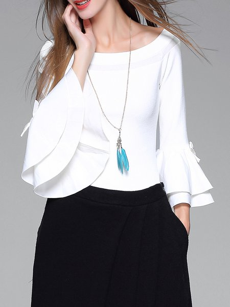 White Off Shoulder Bell Sleeve Knitted Plain Sweater