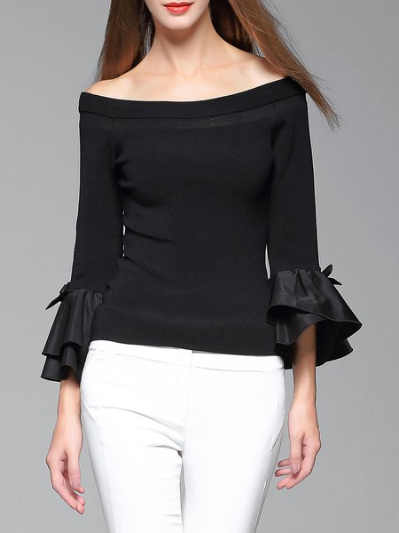 Black Flounce Bell Sleeve Off Shoulder Knitted Sweater