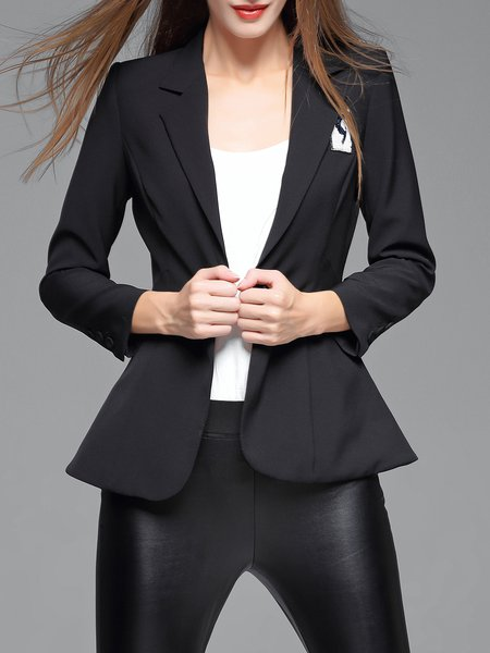 Black Buttoned Formal Polyester Blazer