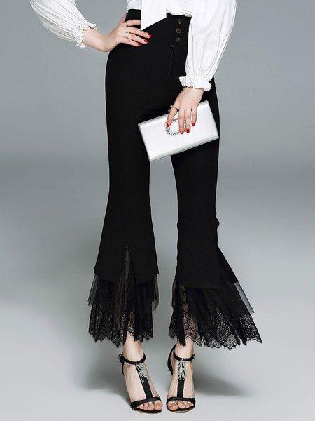 Black Sheath Paneled Lace Casual Flared Pants