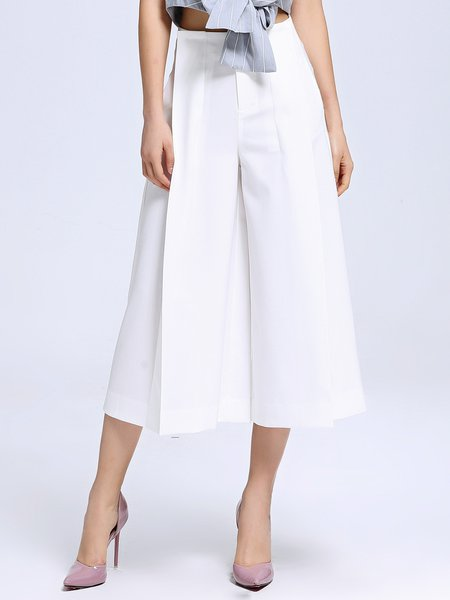 Simple Pockets Solid Flared Pants