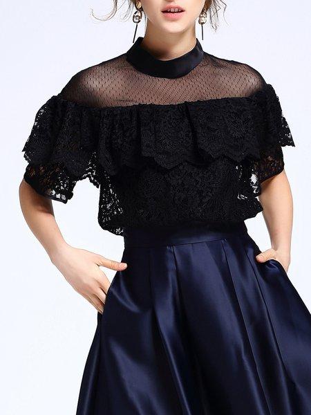 Lace Ruffled Short Sleeve Blouse