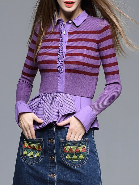 Purple Asymmetrical Color-block Long Sleeve Shirt Collar Wool blend Sweater