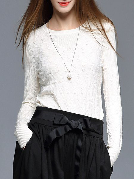White Jacquard Wool Blend Long Sleeve Crew Neck Sweater