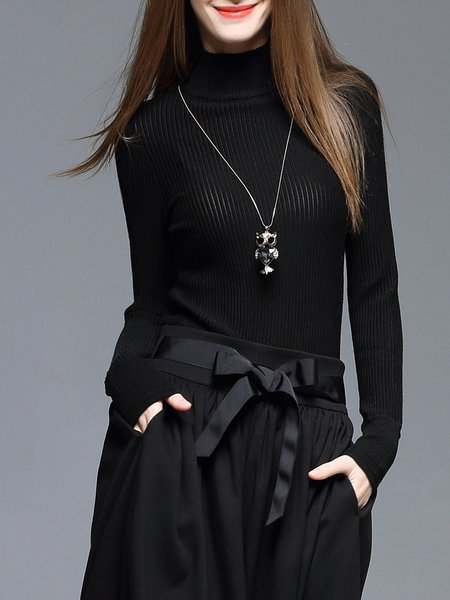 Black Casual Wool Blend Solid Turtleneck Sweater