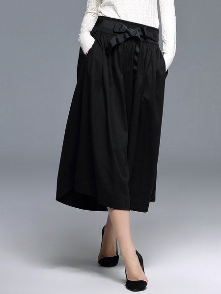 Black Cotton-blend Bow Solid Casual Wide Leg Pants