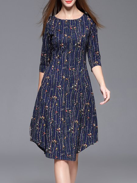 Navy Blue Floral Casual Asymmetrical Midi Dress