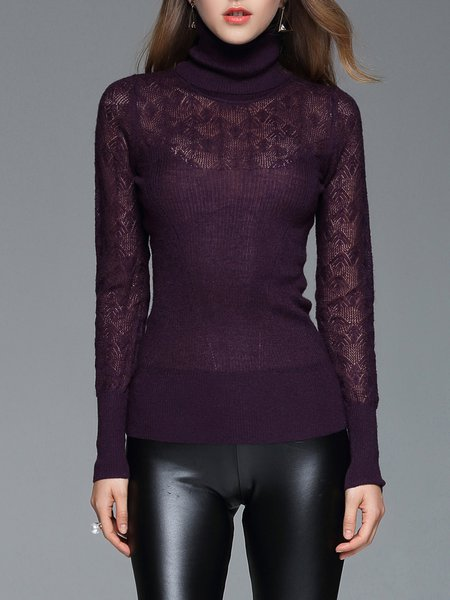 Turtleneck Knitted Plain Casual Long Sleeve Top