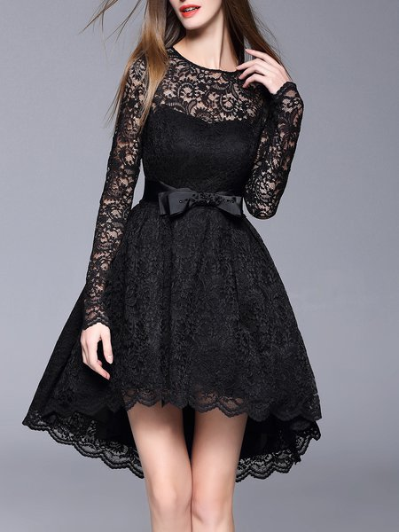 Lace High Low Plain Girly Bow Long Sleeve Midi Dress