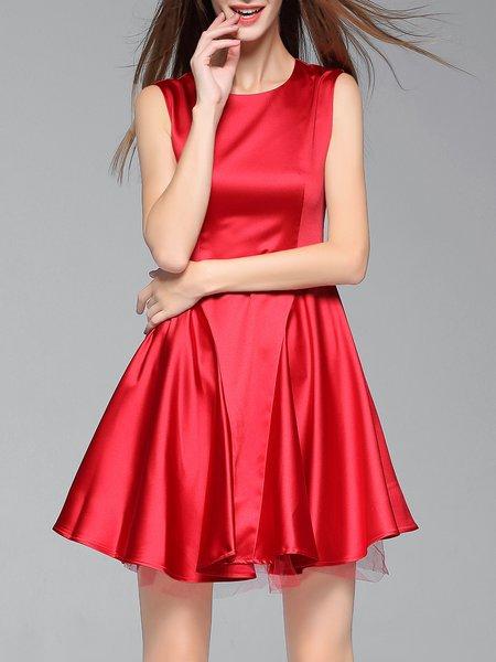 Silk-blend Sleeveless Crew Neck Elegant Mini Dress