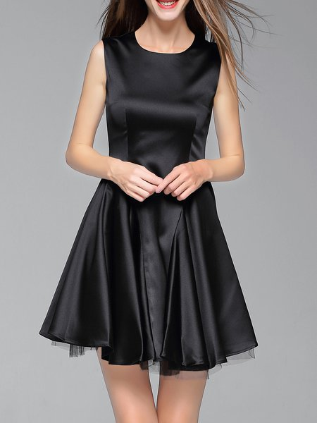 Black Silk-blend Elegant Mini Dress
