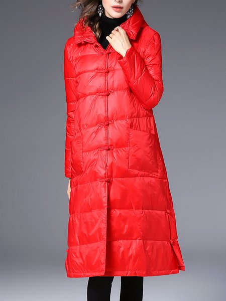 Long Sleeve Slit Casual H-line Solid Down Coat