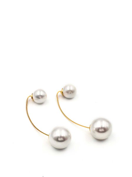 Golden 925 Sterling Silver Gold Plated Round Pearl Earrings