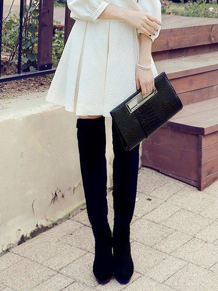 White Plain Folds Simple Jacquard Mini Skirt