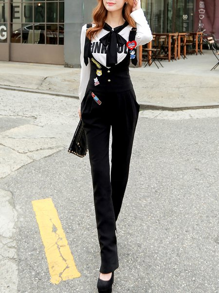 Black Casual Appliqued Pockets Jumpsuit