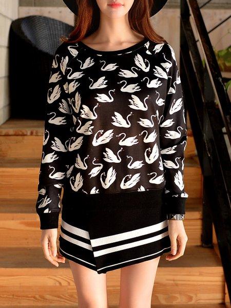 Black H-line Animal Print Long Sleeve Hoodies And Sweatshirt