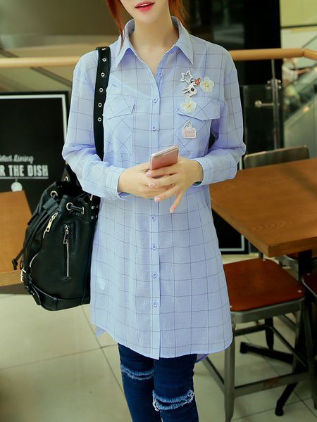 Sky Blue High Low Checkered/Plaid Buttoned Long Sleeve Blouse with Brooch