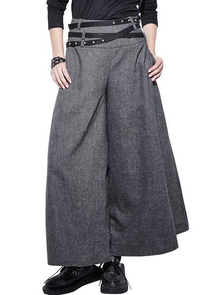 Gray Zipper Wool Plain Simple Wide Leg Pants