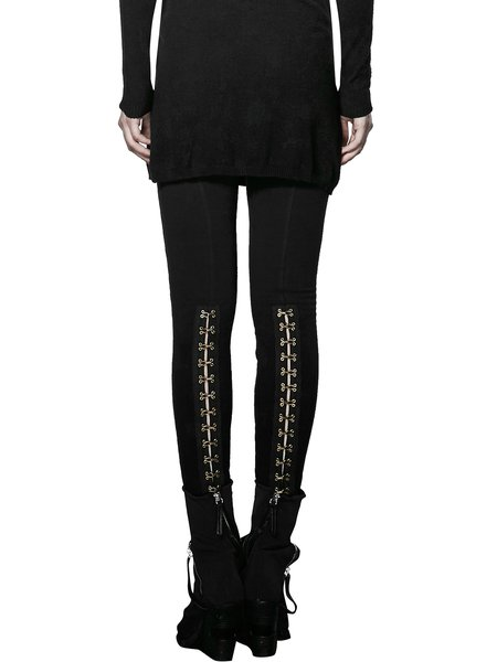 Black Plain Pockets Casual Lace Up Skinny Leg Pants