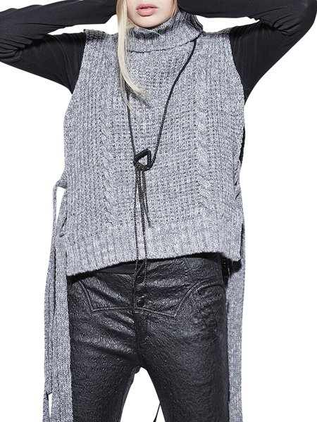 Gray Turtleneck Sleeveless Knitted Acrylic Sweater