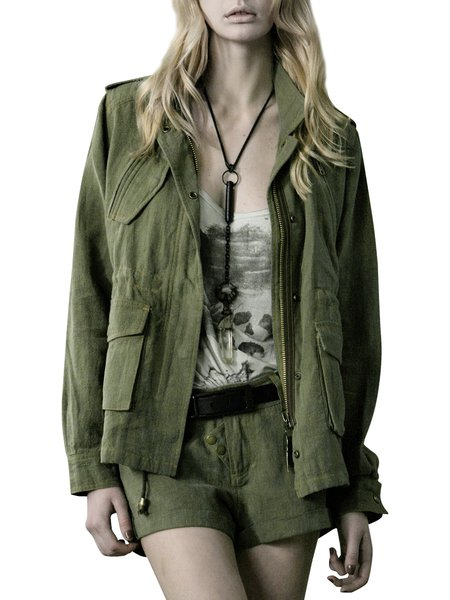 Green Pockets Polyester  Zipper Long Sleeve Coat