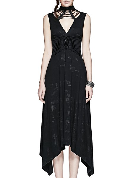 Black Asymmetric Sleeveless Lace-up Evening Dress