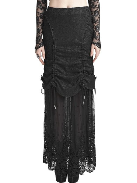 Black Crocheted Sheath Mesh Statement Maxi Skirt