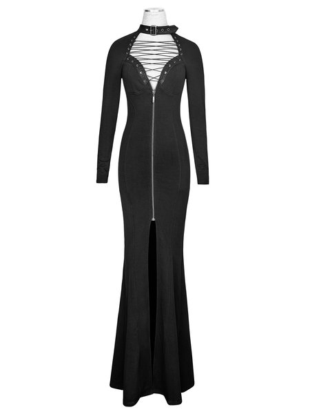 Black Mermaid Cotton Evening Plain Evening Dress - StyleWe.com
