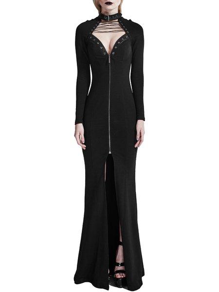 Black Mermaid Cotton Lace-up Zipper Plain Evening Dress
