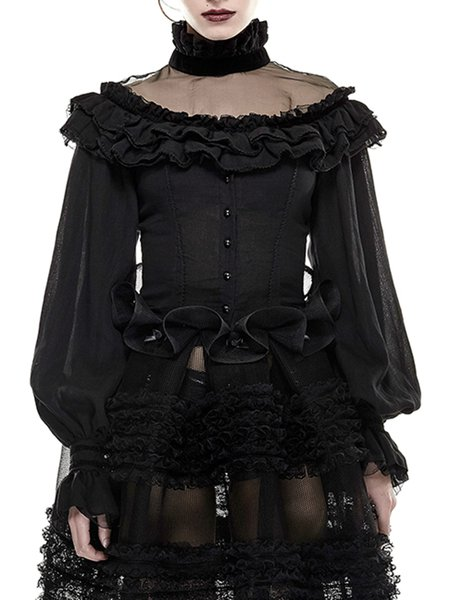 Black Turtleneck Long Sleeve Ruffled Tulle Paneled Cotton-blend Blouse