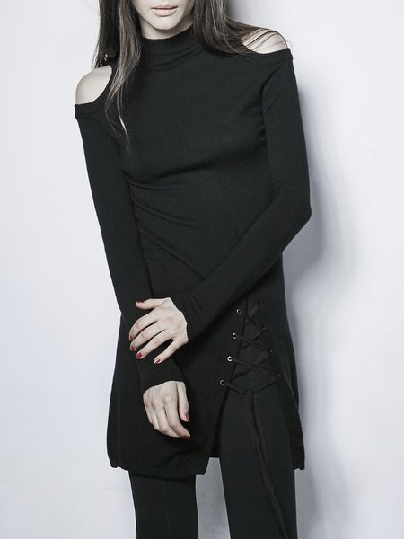 Black Turtleneck H-line Long Sleeve Cutout Open Shoulder Sweater